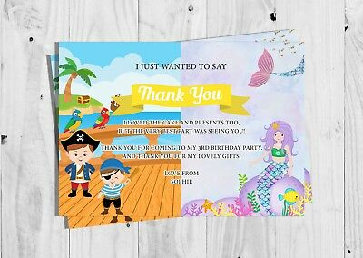 Personalised Mermaid and Pirate Birthday Party Thank You Cards