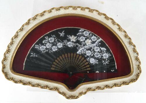 Japan Japanese Black Silk Fan w/ Hand Embroidered Avian & Foliates ca. 20th c.