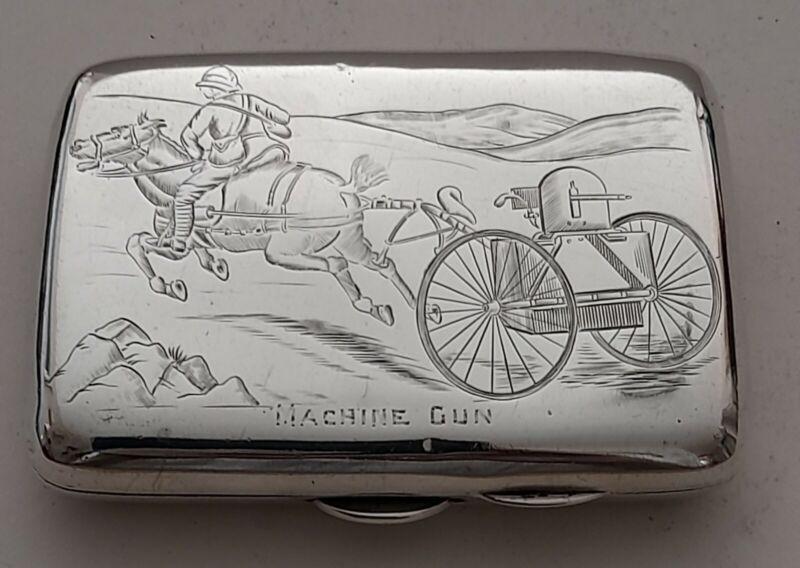 "Silver Cigarette Case.""Machine Gun"". Chester 1899. Payton,Pepper & Sons. 78gr."