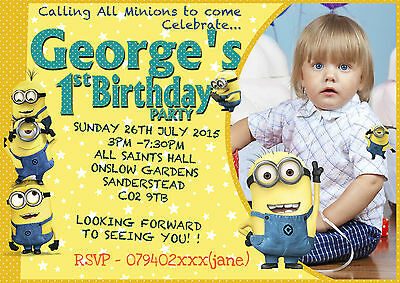 Personalised boy Birthday Party Invitations  Minion (with photo)  84cards Pack](Personalized Minion Birthday Invitations)