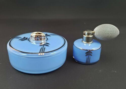 Deco Style DeVilbiss Perfume Atomizer and Powder Jar Set - 1934