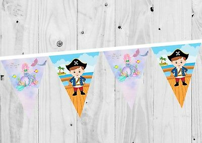 Mermaid and Pirate Birthday Banner, Bunting, Decoration, Party