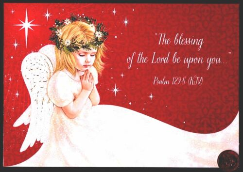 Christmas Angel Praying Wings Stars RELIGIOUS - Christmas Greeting Card - NEW