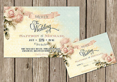 PERSONALISED SHABBY CHIC VINTAGE FLORAL WEDDING INVITATIONS PACKS OF 10