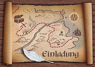 Piraten Einladungskarten Kindergeburtstag, Geburtstagseinladungen Kinder Schatz