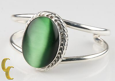 Ladie's Sterling Silver .925 Mexico Cat's Eye Cuff Bracelet Beautiful Gift!