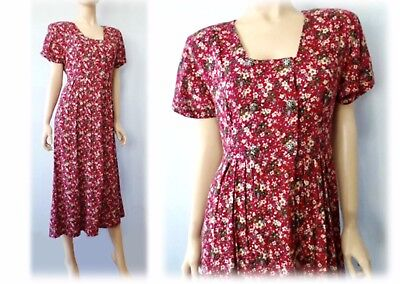 Vintage 70s 80s Low Cut Red Maroon Calico Prairie Babydoll Midi Dress S XS