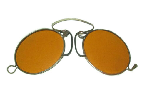 Antique Amber Pince Nez Sunglasses Orange Civil War Glasses Vtg Glasses