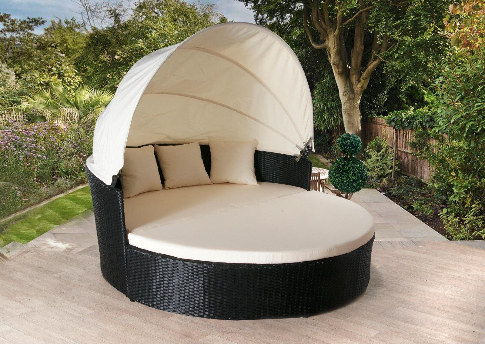 Garden Furniture - RATTAN DAY BED RATTAN GARDEN FURNITURE SOFA LOUNGER OUTDOOR PATIO WICKER NEW