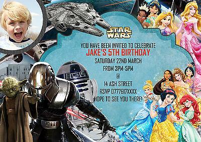 Personalised Boys Birthday Party Invitations Disney Princess+Star Wars 8 cards