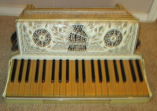 Antique Moreschi & Sons Piano Key Accordion Italian made with Case  1930
