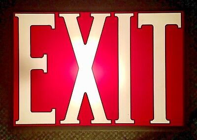 Vintage Vtg Original Glass Exit Sign Metal Frame Single Sided Working Red
