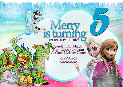 Personalized party invitation teenage mutant ninja turtle + Frozen princess x 8](Ninja Turtle Invitations)