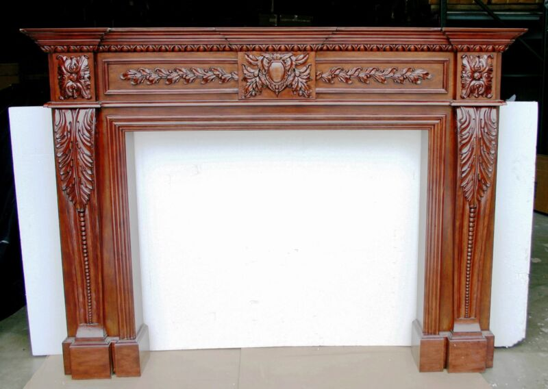 CHERRY (STAINED) FIREPLACE SURROUND (MANTLE) LEAF BREAST W/LEAF & BEAD PILASTER