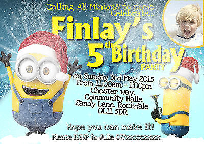 Personalised Birthday Minion Invitations christmas party minion theme (A6)](Personalized Minion Birthday Invitations)