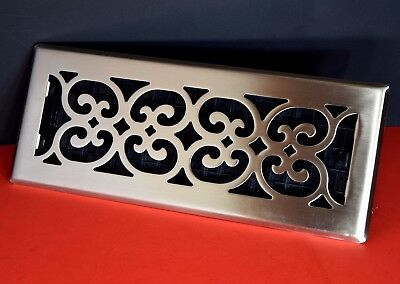 Decor-Grates-Floor-Register-Air-Vent-Scroll Plated Nickel-4x10,x12,4 x 14 (Decor Grates)