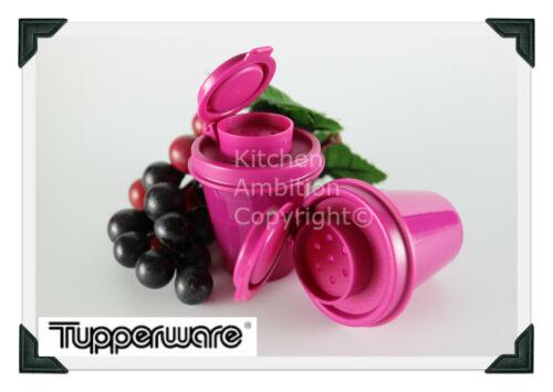 Brand New TUPPERWARE Mini Salt and Pepper Shakers 2 oz. Midgets Purple Airtight