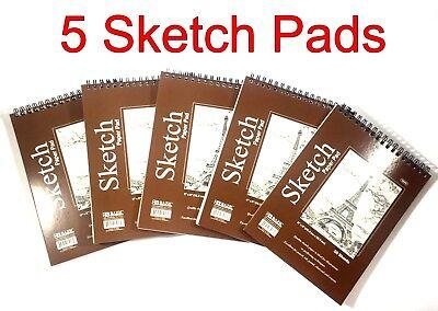 "(5) High Quality Spiral Premium Sketch Book Paper Pad 50 Sheets 6"" x 8"""
