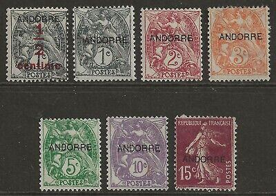 ANDORRA (FRENCH) 1931-1932 overprint set to 15c fresh mint MH OG Mi#1-7 cat £35+