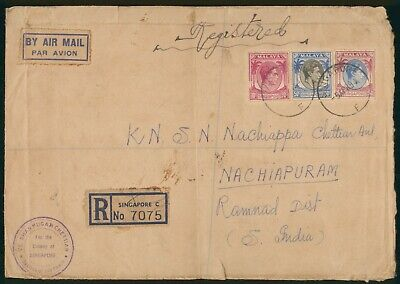 Mayfairstamps Singapore 1954 to South India Registered Airmail Cover wwo90223