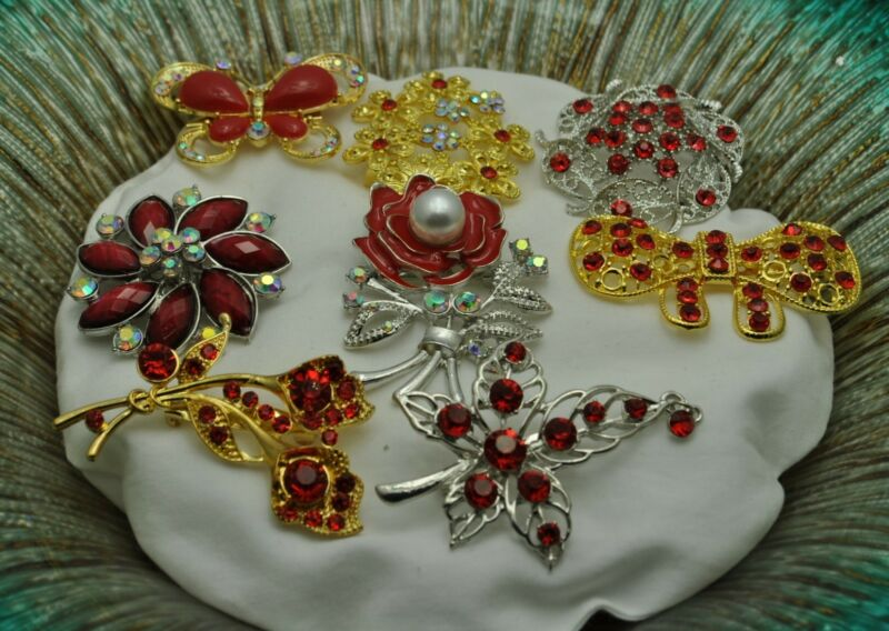 A-72 Wholesale Lot 8  Vintage Style gold tone  Brooches Pins Red color Bouquet