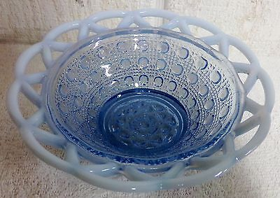 """Imperial Glass Laced Edge Blue Opalescent 6"""" Belled Nappy Bowl Sugar Cane"""