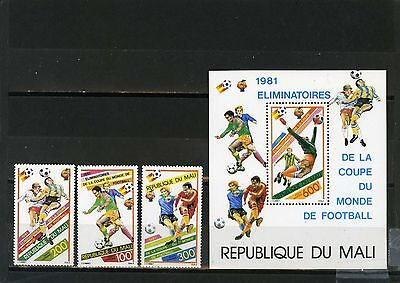 MALI 1981 SOCCER WORLD CUP SPAIN SET OF 3 STAMPS & S/S MNH