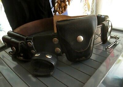 Vintage Jay-pee Leather Police Duty Belt With Keepers Baton Handcuffs Pouches