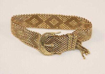 (Vintage Solid 14k Yellow Gold Mesh Art Deco Belt Buckle Tassel Heavy Bracelet)