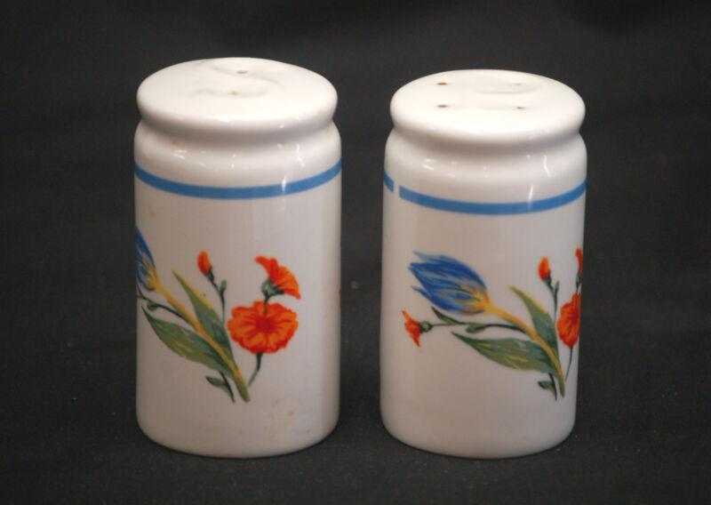 Vintage Salt & Pepper Shakers Set w Floral Pattern Design Kitchen Tool Decor