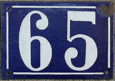 Large French house number 65 door gate plate plaque enamel steel metal sign
