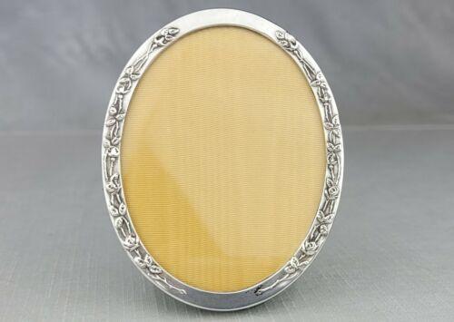 Vintage Webster Sterling Silver Oval Picture Frame Rose Accents 3.5