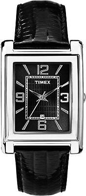 Timex T2P517, Men's, Black Leather Watch, Black Dial, Rectangle, Date T2P5179J