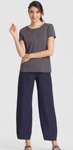 XL NWT EILEEN FISHER MIDNIGHT WASHABLE STRETCH CREPE LANTERN ANKLE PANTS