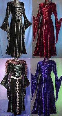 Edel Samt Mittelalter Kleid Gewand Hexe*schwarz, weinrot, grün, lila*36-46*67