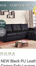 Black leather corner sofa and queen sized bed with mattress Chatswood Willoughby Area Preview