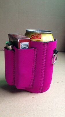Koozie with cigarette and lighter holder (pink)