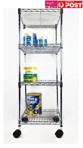 4 Tiers Metal Chrome Steel Wire Shelving Cart Adjustable Storage Rack CSH-147