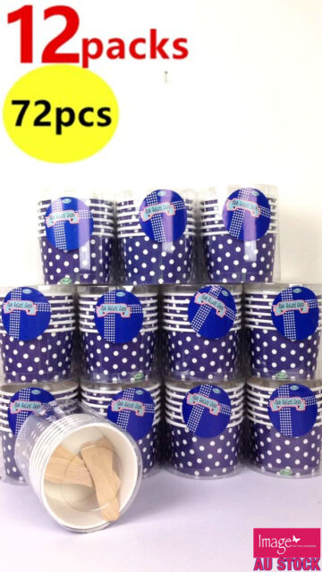 72pcs Party Pack Ice Cream Cake Cup Polka Dots Design Royal Blue PW9991Bx12