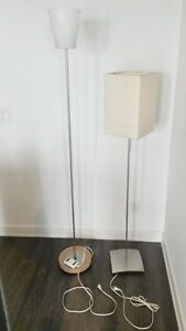 Ikea floor lamp, white and creme, with bulbs
