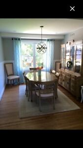 Dining Table & 8 Chairs with buffet  2 extension leafs & mats