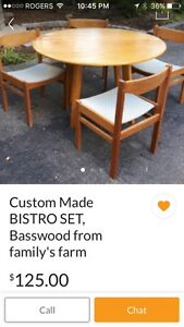 Bistro Set - Drop Leaf Round Table with 5 Vintage Chairs