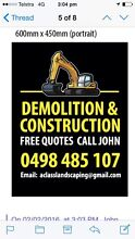Demolition & Construction Services Bobcat & Tipper Hire (FREE QUOTES) Ascot Belmont Area Preview