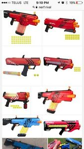 Wanted nerf rival blasters