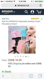 NEW - Pyle-Pro Adjustable Desktop Tripod Microphone Stand