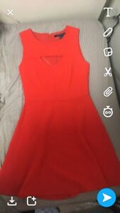 Bright red/orange dress, size 6