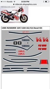 1985Yamaha RZ500 Decal Kit - New
