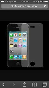 Six iPhone 4 or 4s screen protectors and case