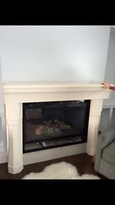 Grand cast stone fireplace mantel and Riser
