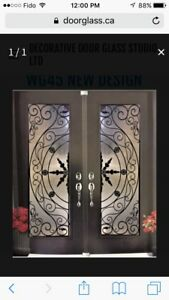 Wrought iron stain glass, door inserts glass